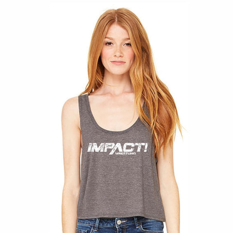 Impact Wrestling Distressed Women's Flowy Boxy Tank - Athletic Heather