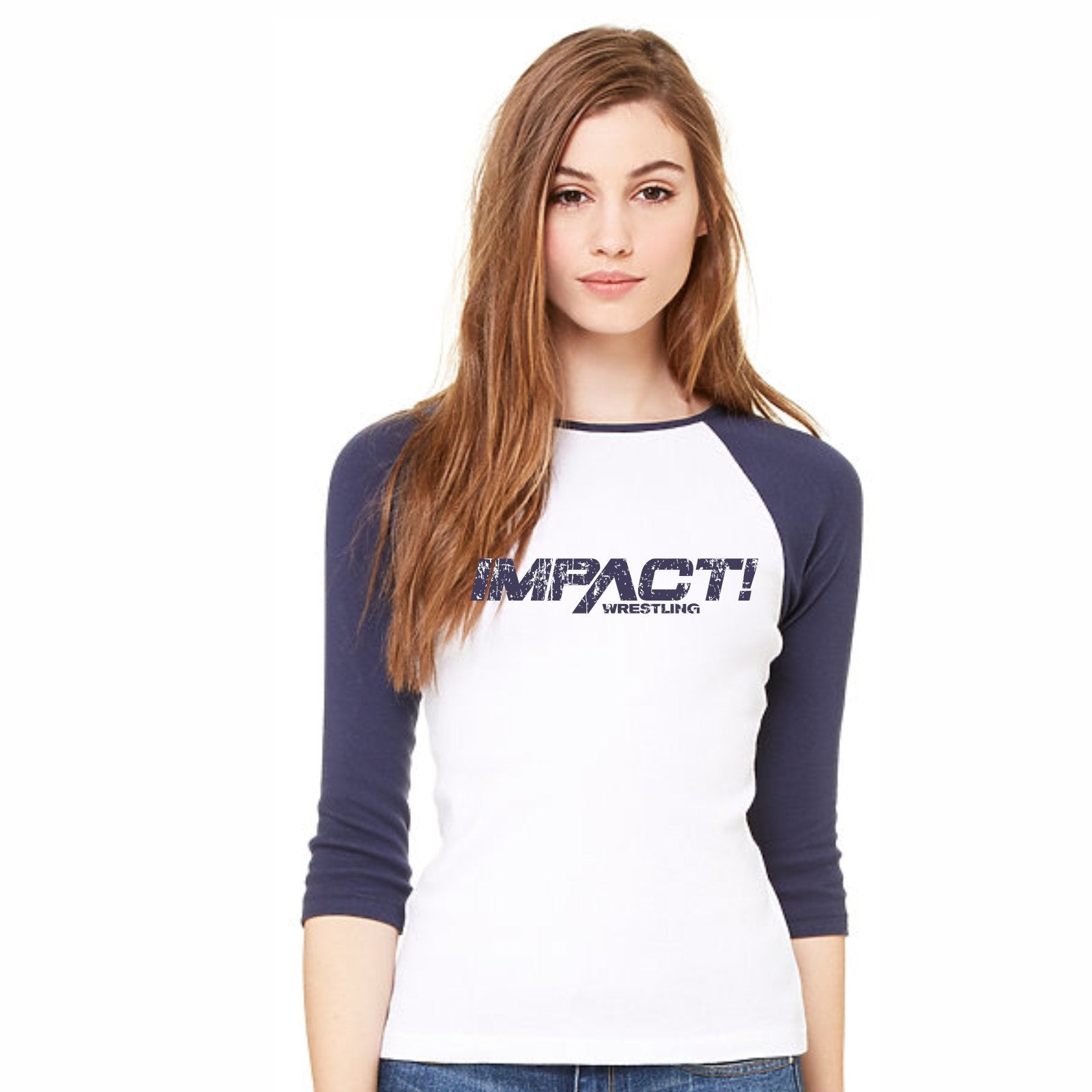 Impact Wrestling Distressed Women's Baseball Tee - White/Navy Sleeve