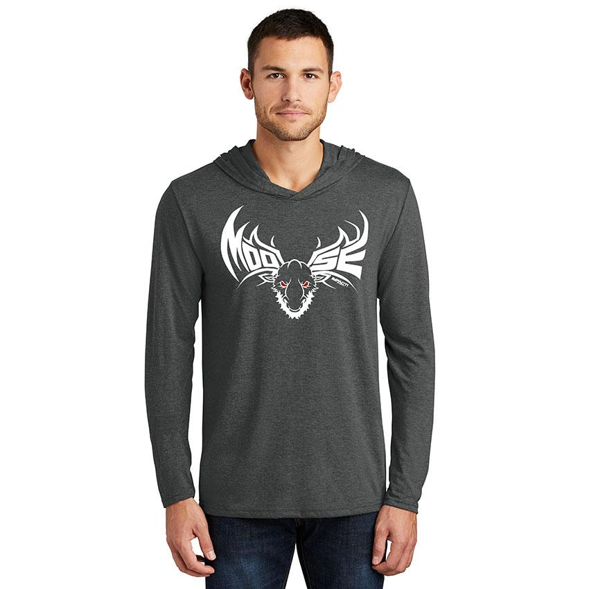 Moose  White Men's Hooded Long Sleeve T-Shirt
