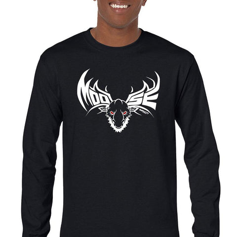 Moose  White Men's Long Sleeve T-Shirt