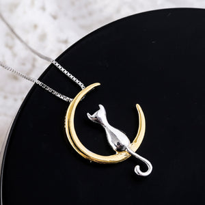 Pure 925 Sterling Silver Moon Cat Pendant Necklace