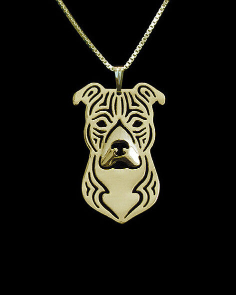 Pit Bull 3D Cut Out Pendant And Necklace