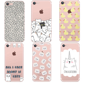Cat and Duck Phone Cases for iPhone 5S SE, 6 6S, 7, 8 Plus, and X
