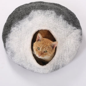 Handmade 100% Wool Felt Large Cat Cave.  Perfect for Kittens, Includes Bonus Catnip