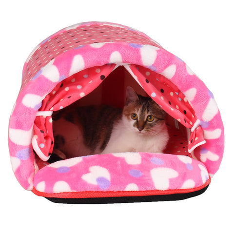 Cushioned Cotton Tunnel House For Cats, Kittens, Small Dogs and Puppies. Two Colors.