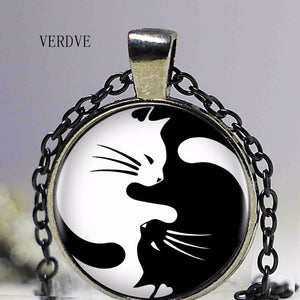 Two Cat Yin Yang Pendant Necklace