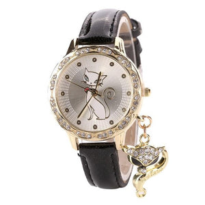 Ladies and Girls Luxury Cut Cat Crystal Accented Dial WristWatch