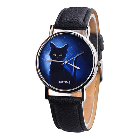 Women's Mysterious Black Cat Leather Band Analog Quartz Watch