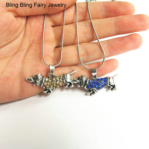 Dachshund Crystal Pendant Necklace