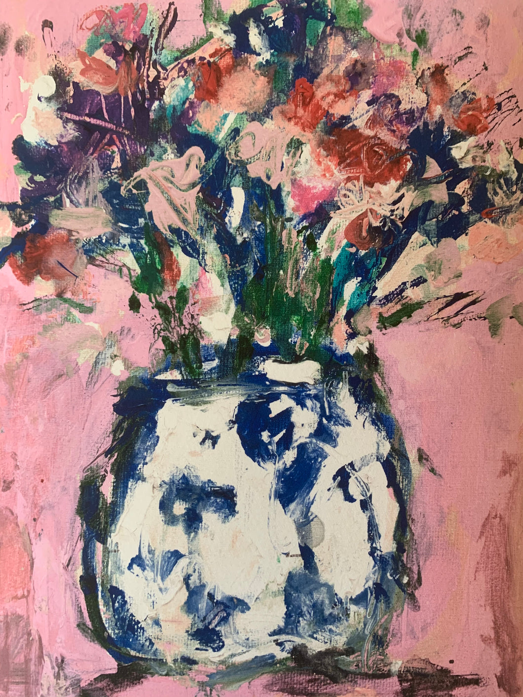 PINK FLOWERS IN A GINGER JAR PRINT