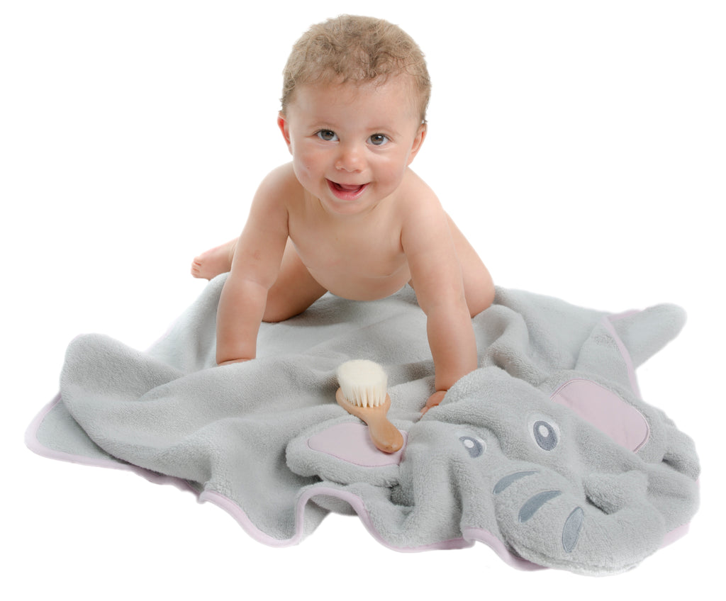 Elephant Baby Hooded Towel - Gray & Pink