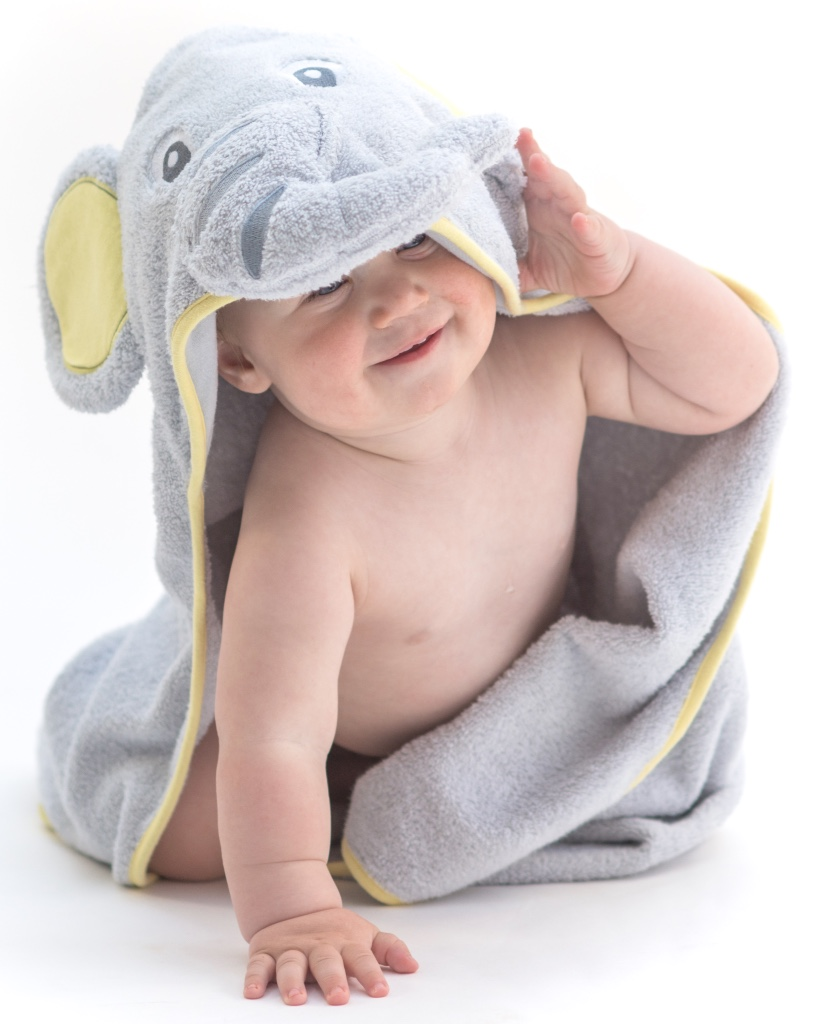 Elephant Baby Hooded Towel - Gray & Yellow
