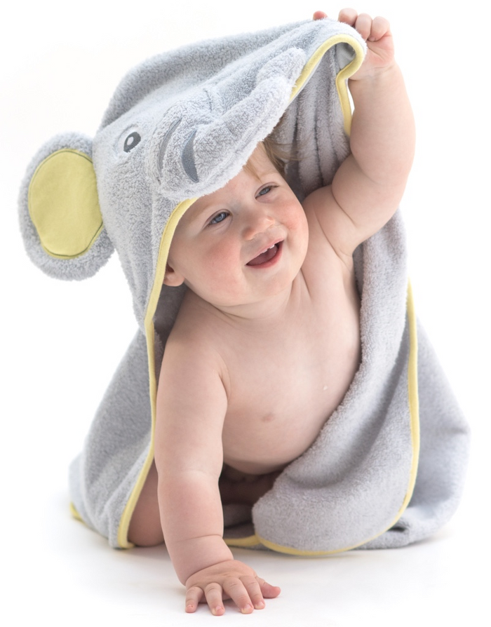 "Elephant Baby Hooded Towel - Gray & Yellow, Small (30x30"")"