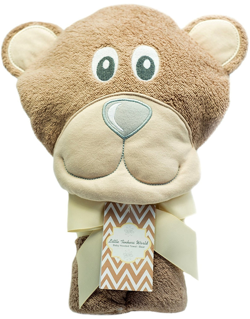ALT = Bear Baby hooded towel folded with a beige ribbon around it