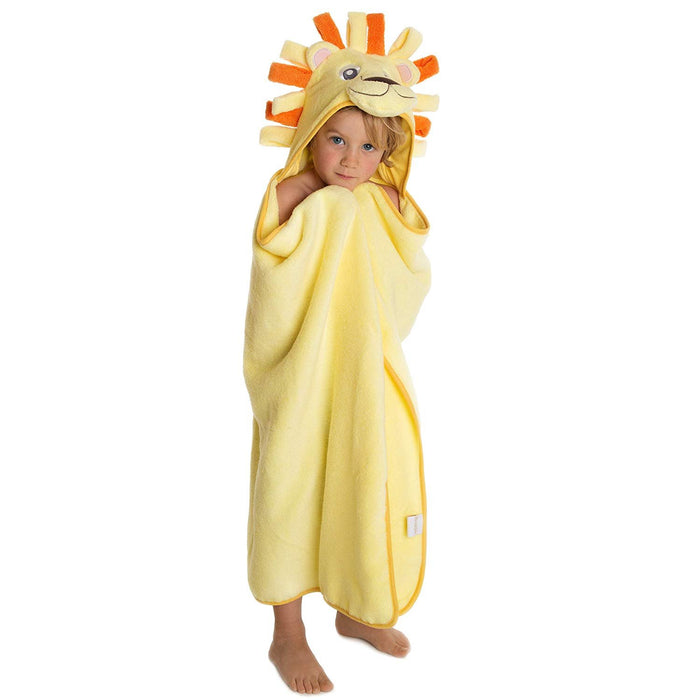 Premium Hooded Towels for Kids | Beach Or Bath Towel | Lion Design | Ultra Soft and Extra Large | 100% Cotton Childrens Swimming/Bath Towel with Hood for Girls and Boys by Little Tinkers World