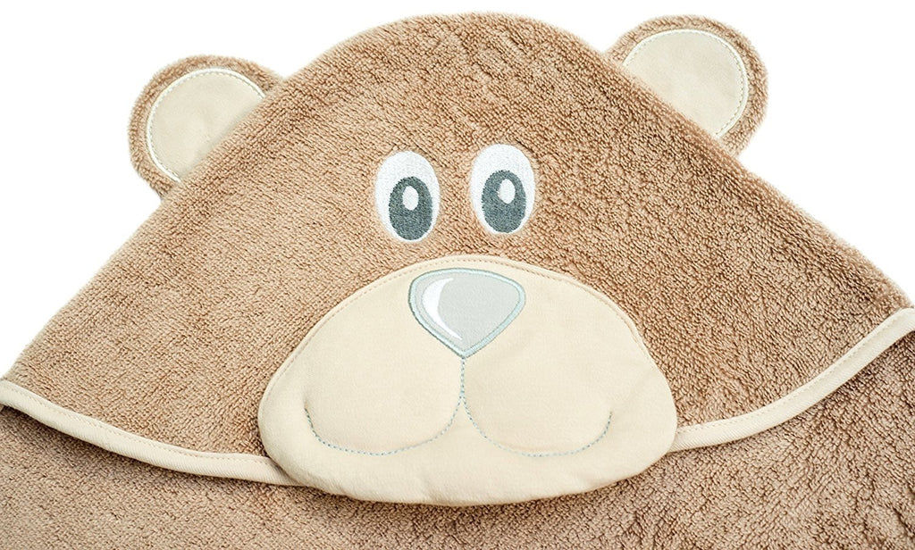 ALT = Close up of Bear hood on Bear hooded towel