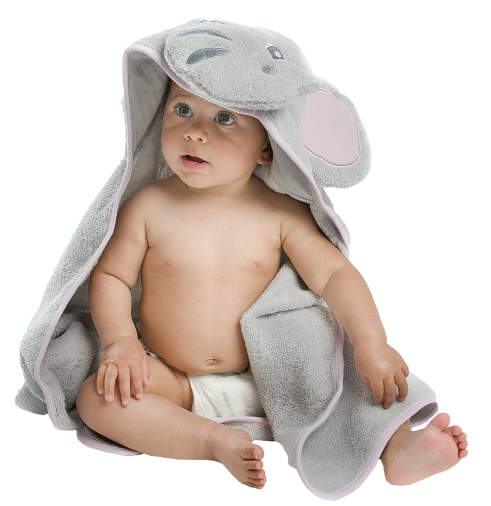Little Tinkers World Elephant Hooded Baby Towel, Natural Cotton, (Gray, Large)
