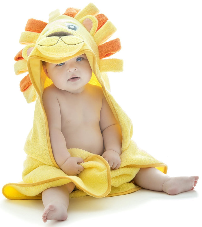 Alt = Baby sitting wearing Lion hooded towel