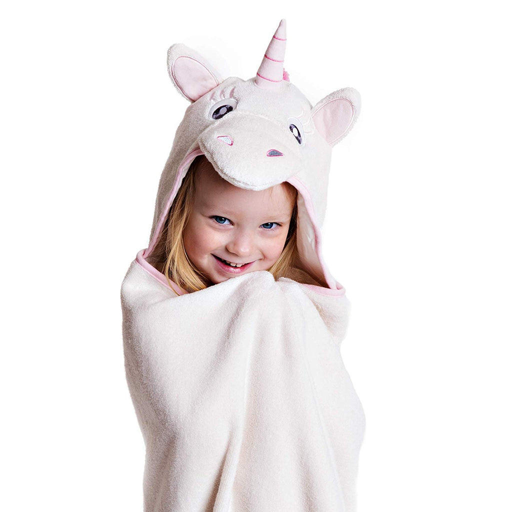 Little Tinkers World Premium Hooded Towels For Kids | Beach Or Bath Towel | Unicorn Design | Ultra Soft and Extra Large | 100% Cotton Childrens Swimming/Bath Towel with Hood for Girls