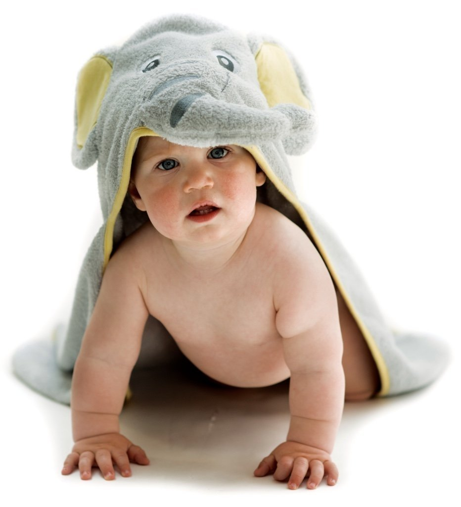 ALT = Baby lying on stomach wearing Elephant Hooded Baby towel