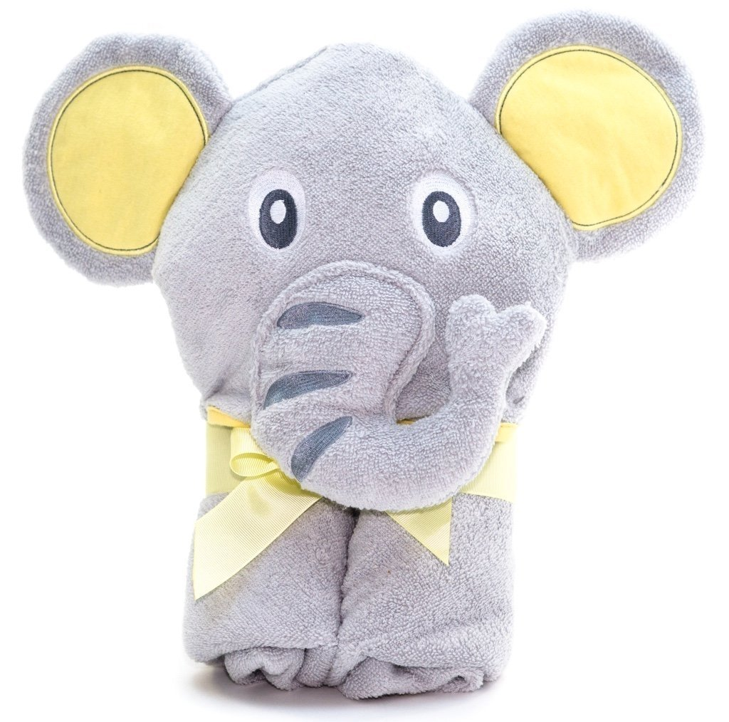 Alt =Elephant hooded towel folded with a yellow ribbon around it