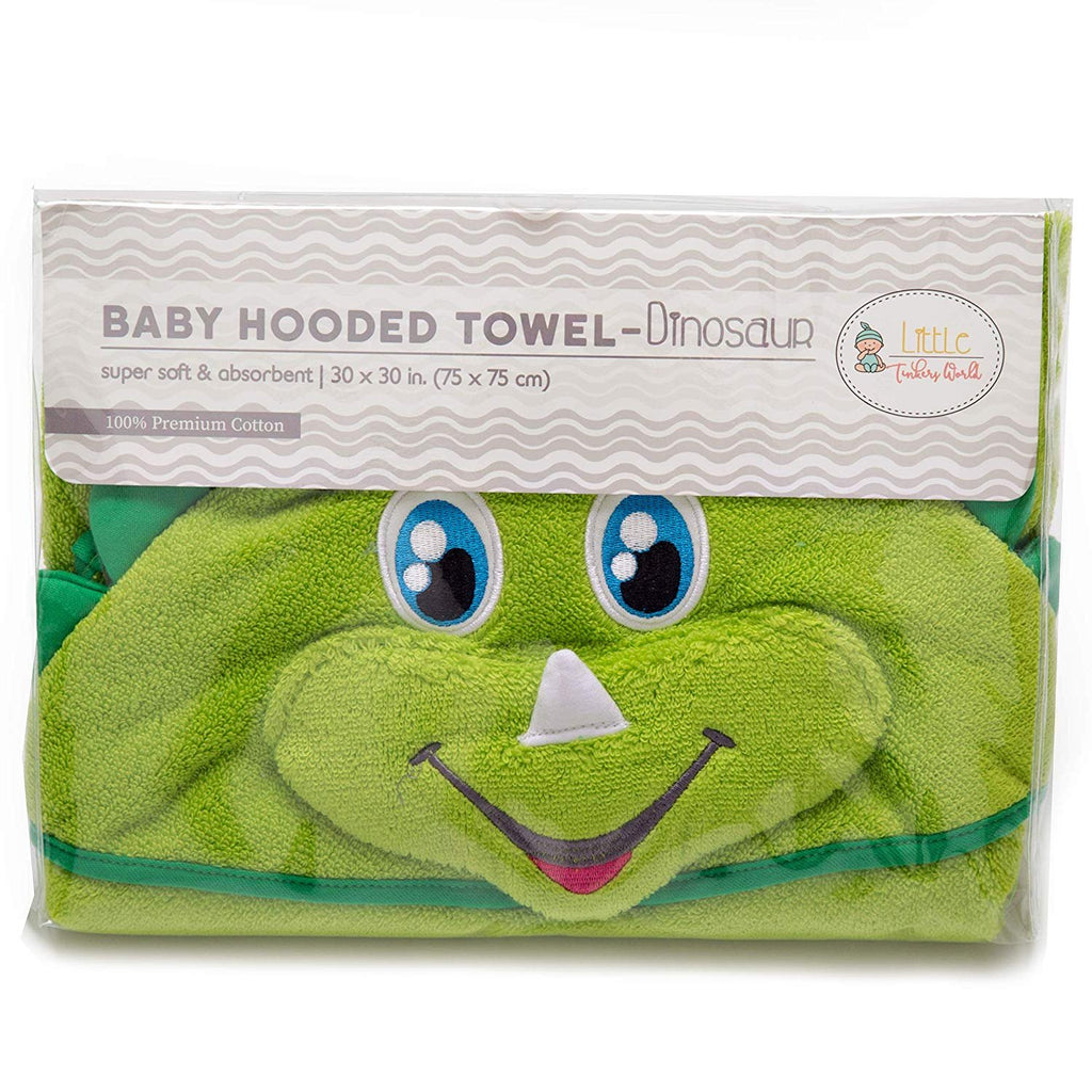 Hooded Baby Towel | Dinosaur Design | Baby Towels with Hood for Newborn, Infant Boys and Girls by Little Tinkers World