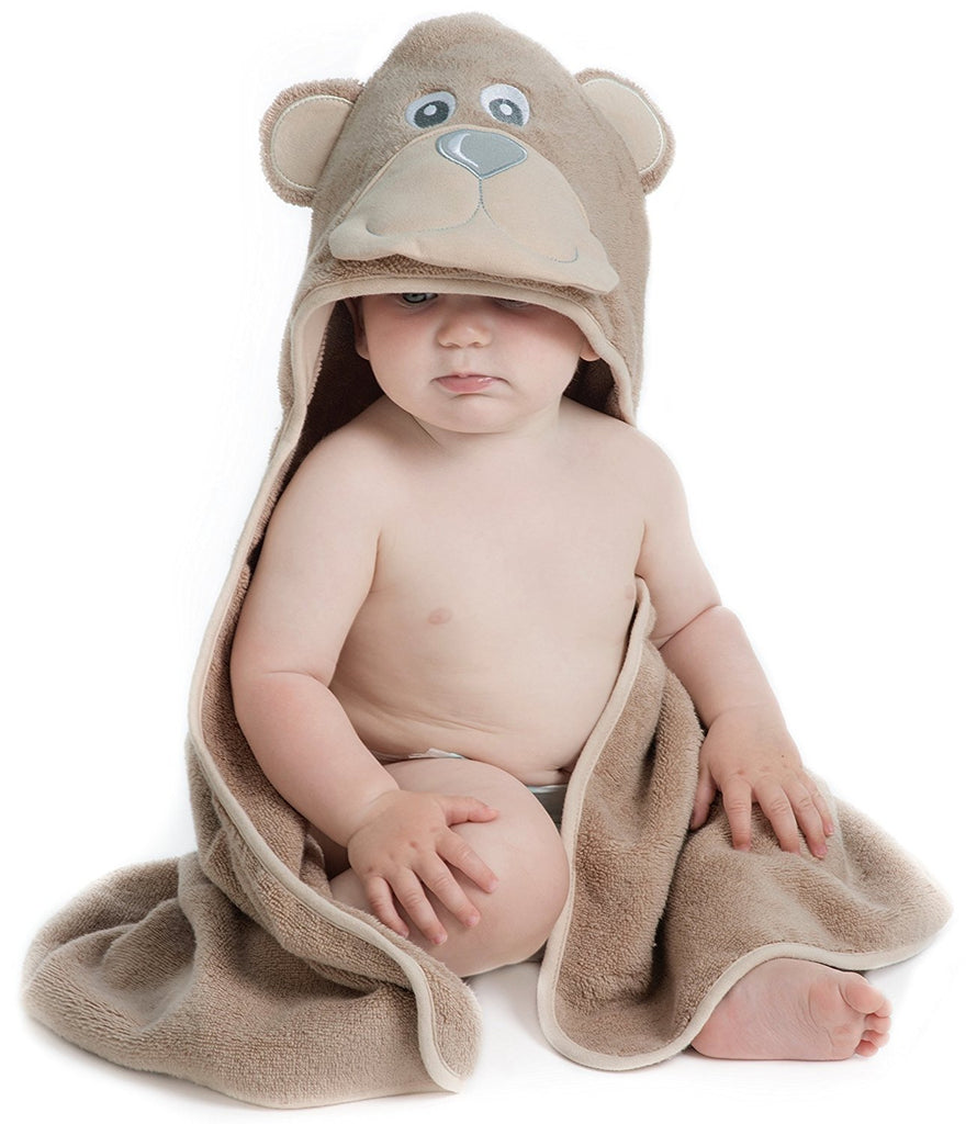 ALT = Baby sitting wearing Bear hooded towel
