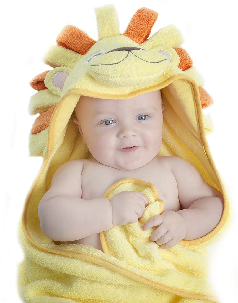 ALT = Baby lying on back wrapped in Lion Hooded Baby Towel