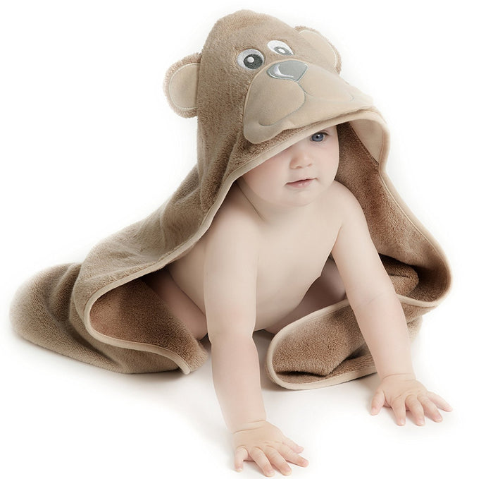 Little Tinkers World Hooded Baby Towel, Natural Cotton, Large 75x75cm Size (Bear)