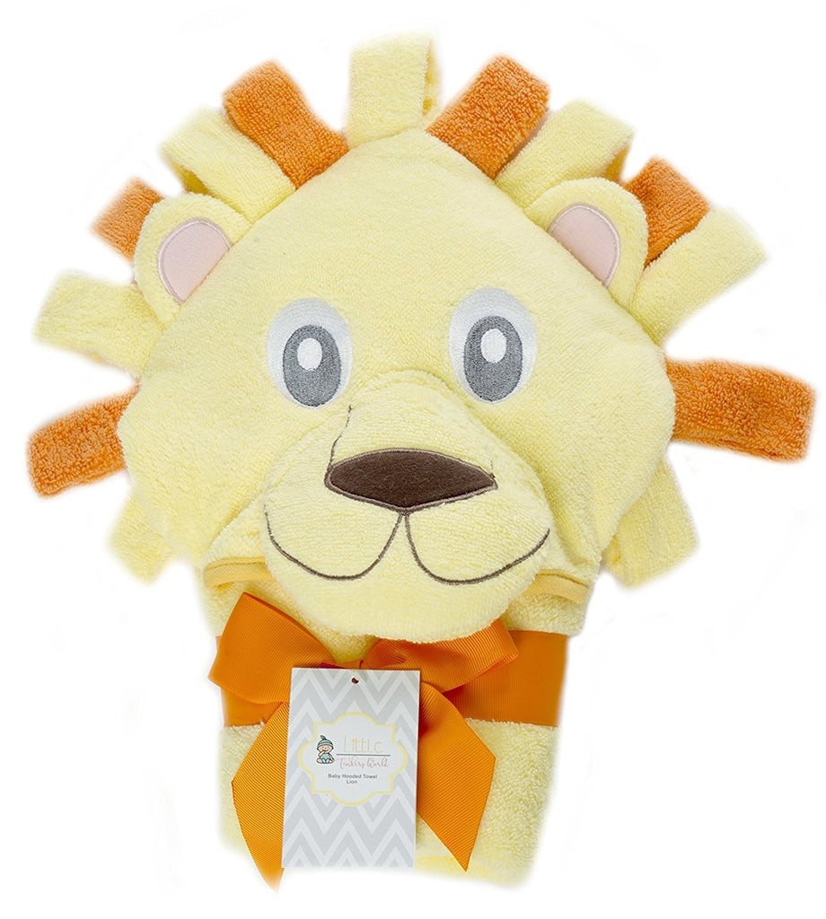 Alt =Lion Baby hooded towel folded with a orange ribbon around it