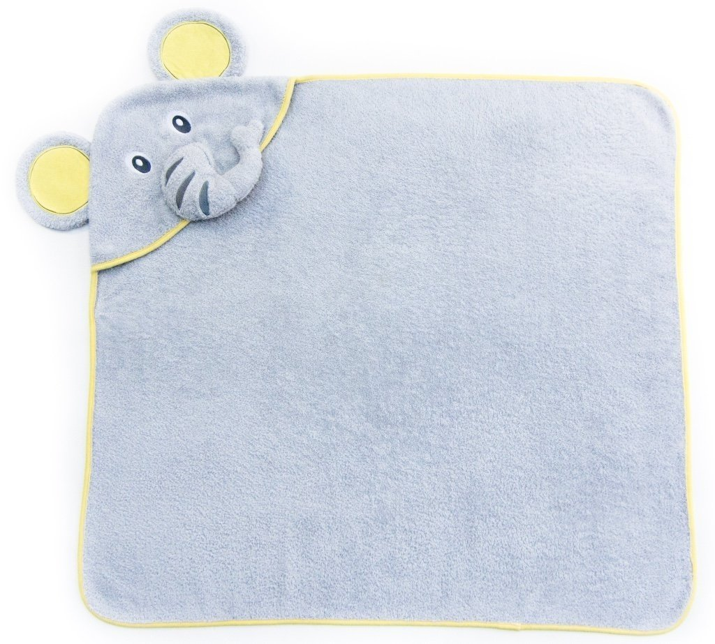 Alt =Elephant hooded towel laid out square and flat with elephant face hood in the corner