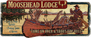 Moose Headlodge<br>Wood Sign