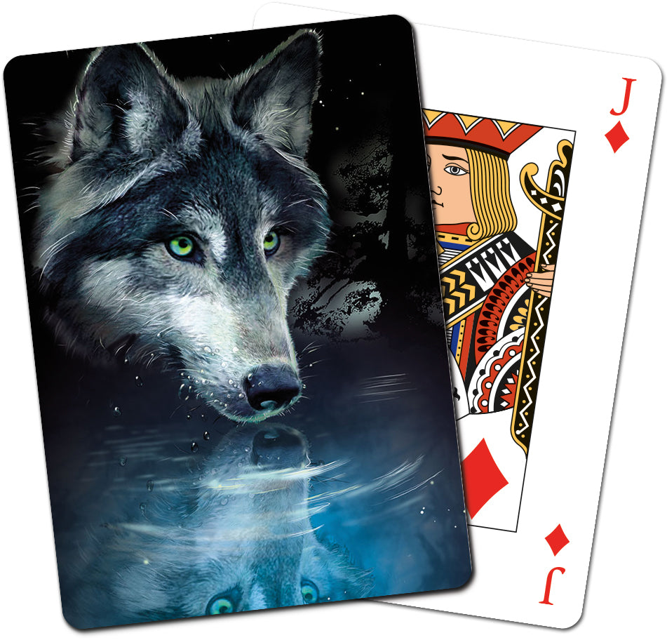 Wolf Reflection Playing Cards<BR>CD 15270