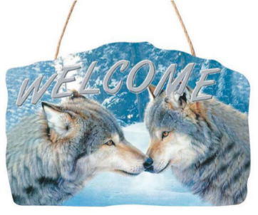 Wolves Nuzzling Welcome Sign<BR>DC 12144D