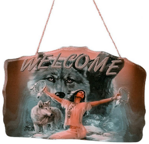 Native Lady Welcome Sign<BR>DC 12144G