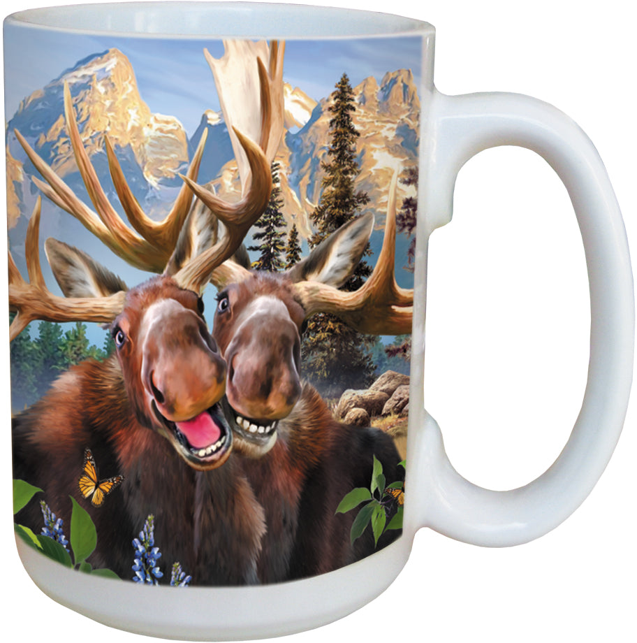 Two Moose Selfie Coffee Cup<BR>LM 46915