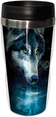 Wolf Reflection Stainless Steel Travel Mug<BR>SG 78270