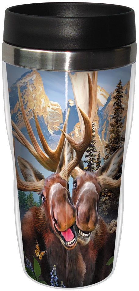 Two Moose Selfie Stainless Steel Travel Mug<BR>SG 78915