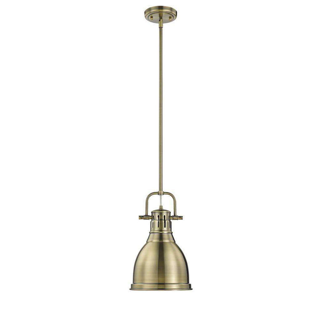 Duncan Small Pendant with Rod in Aged Brass with an Aged Brass Shade