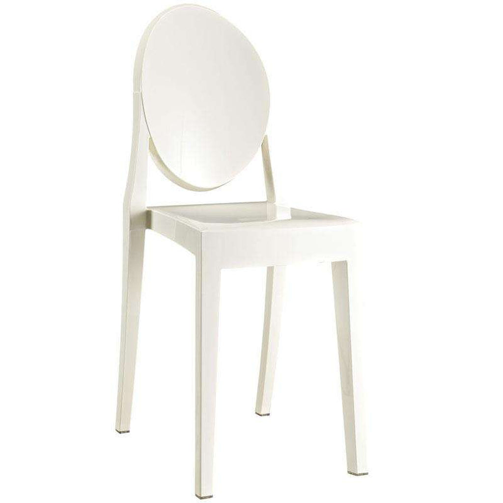 Mid-Century Modern Hadiya Side Chair - White Acrylic Dining Arm Chair