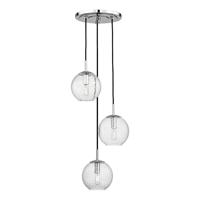 Rousseau 3 Light Pendant With Clear Glass Polished Chrome