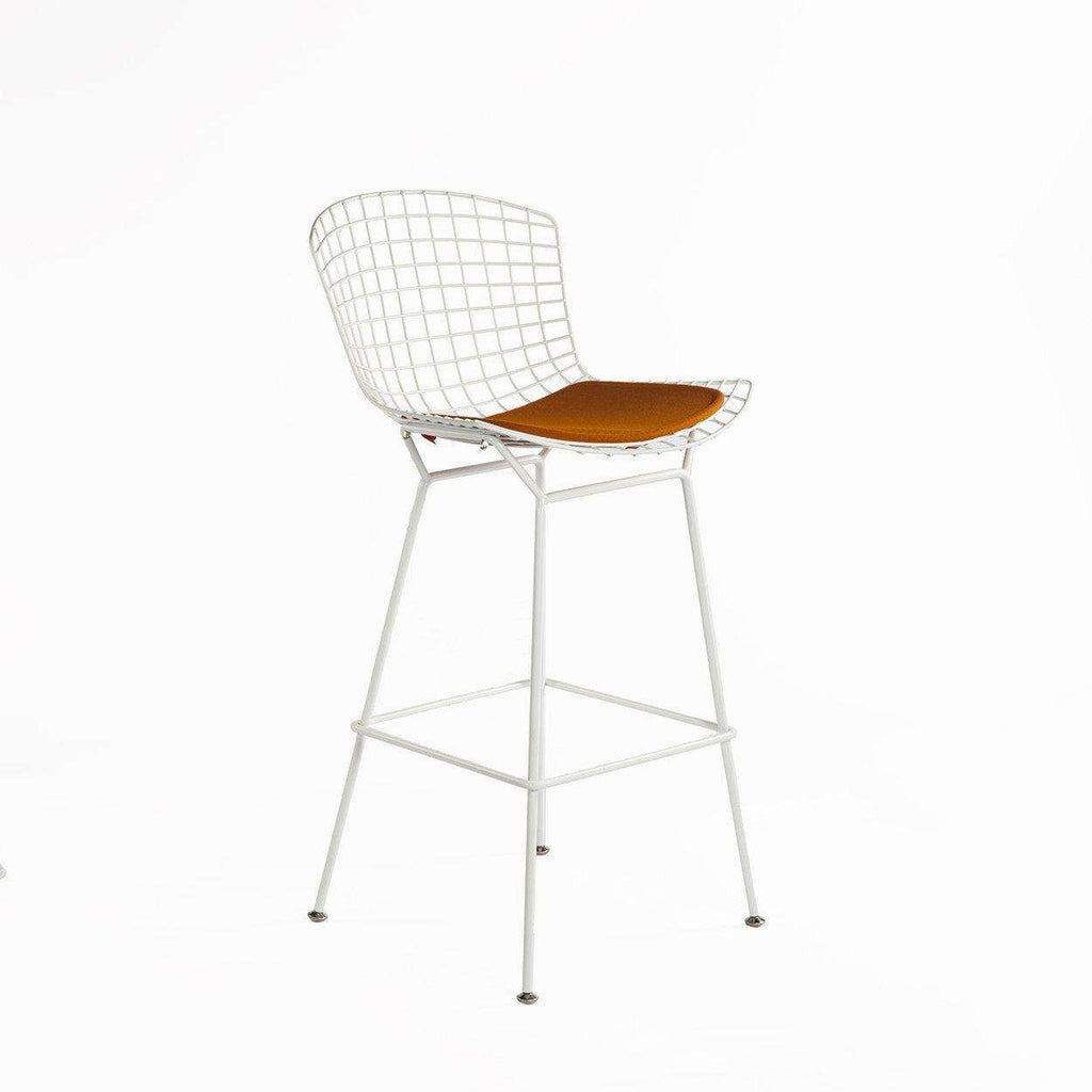 Mid-Century Modern Reproduction Bertoia Bar Stool - White Powder Coated Frame with Orange Pad Inspired by Harry Bertoia