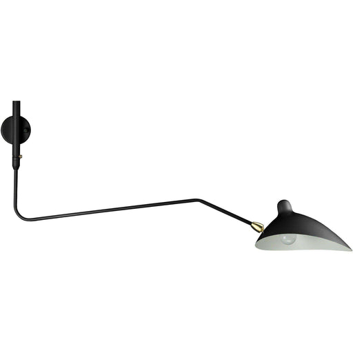 Mid-Century Modern Reproduction MSC-R1C Rotating Sconce - One Curved Arm - Black Inspired by Serge Mouille