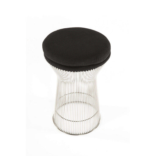 Mid-Century Modern Reproduction Platner Stool - Black Leather Inspired by Warren Planter