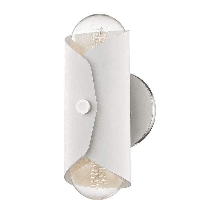 Immo 2 Light Wall Sconce - Polished Nickel/White