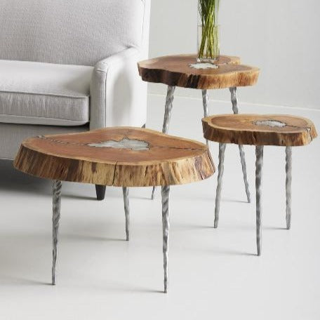 Molten Side Table, LG, Poured Aluminum In Wood