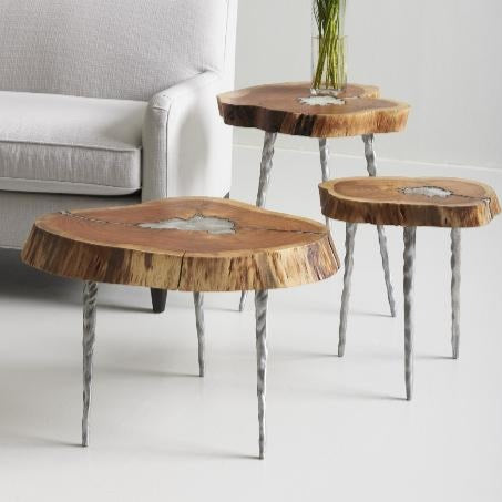 Molten Side Table, SM, Poured Aluminum In Wood