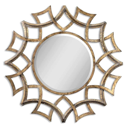 Demarco Round Antique Gold Mirror