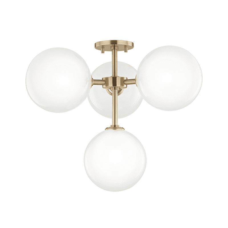 Ashleigh 4 Light Semi Flush - Aged Brass