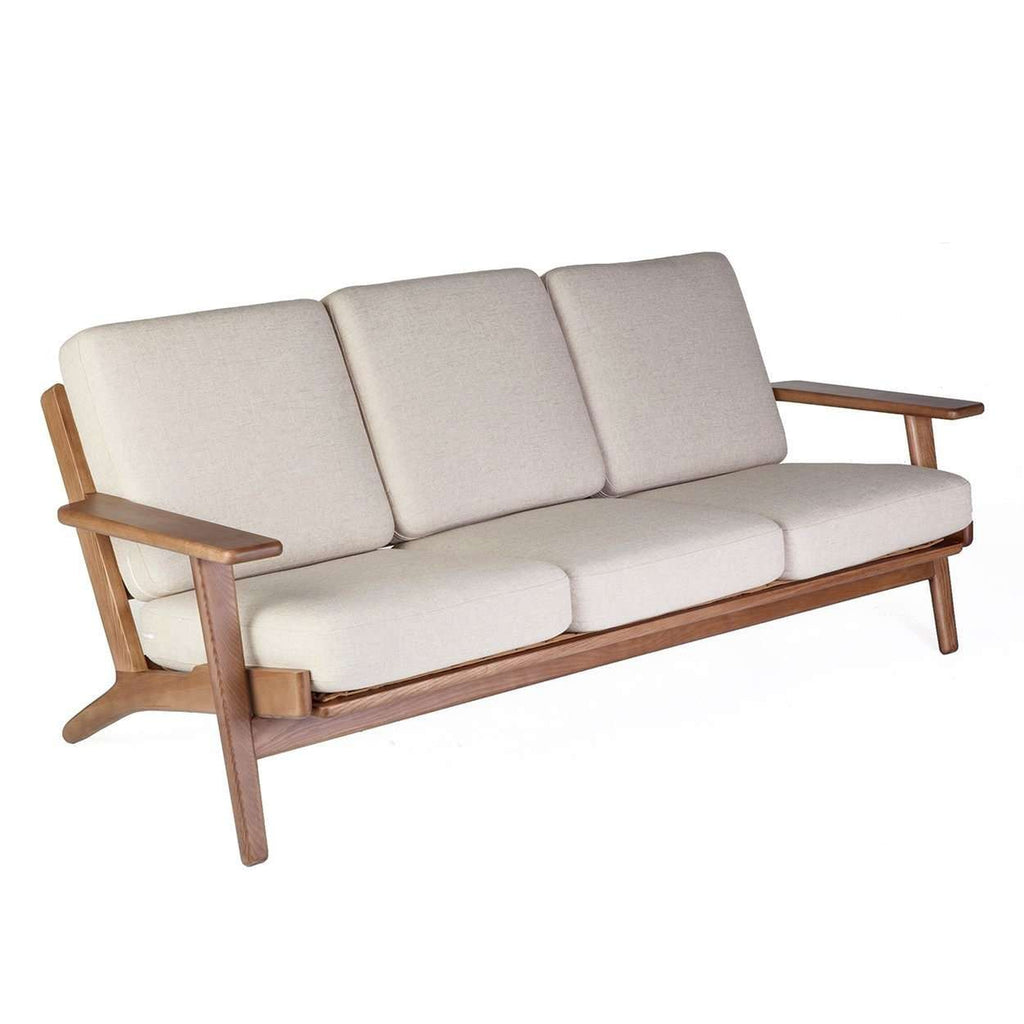 Mid-Century Modern Reproduction GE 290 Plank Sofa - Walnut Frame - Beige Inspired by Hans Wegner
